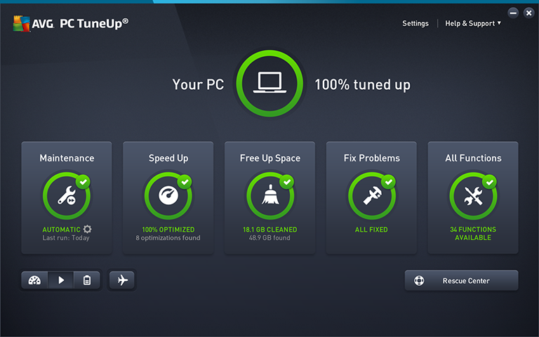 AVG PC TuneUp application interface