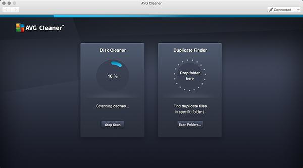 Mac Cleaner - escaneamento do Disk Cleaner em andamento